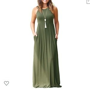 Army Green Racer Back Maxi Dress